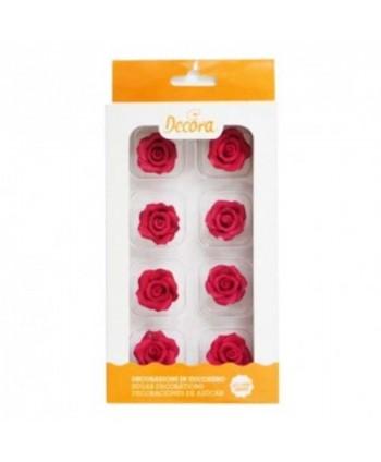8 Rosas de azúcar color rojo