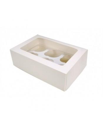 Caja 6 cupcakes blanca con...