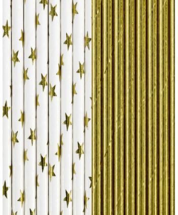 12 pajitas doradas y estrellas