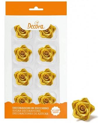 8 Rosas de azúcar color oro
