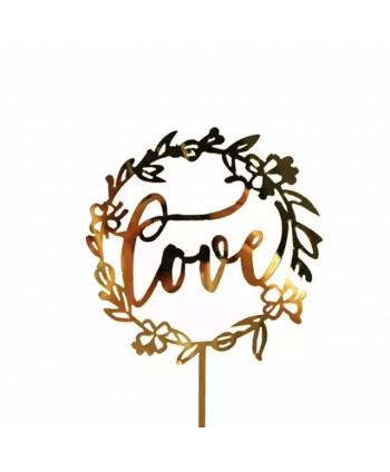 Topper love acrílico dorado...