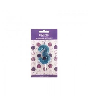 Vela 3 purpurina azul -...