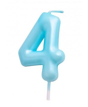 Vela número 4 azul pastel