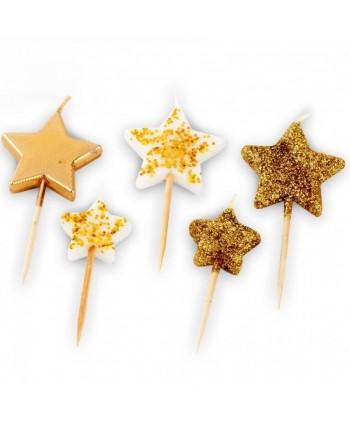 5 Velas estrellas doradas y...